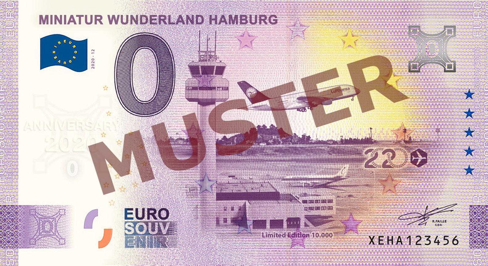 "Euro-Souvenir-Banknote Motif ""Flughafen"" (2020-12.2) Anniversary-Edition"