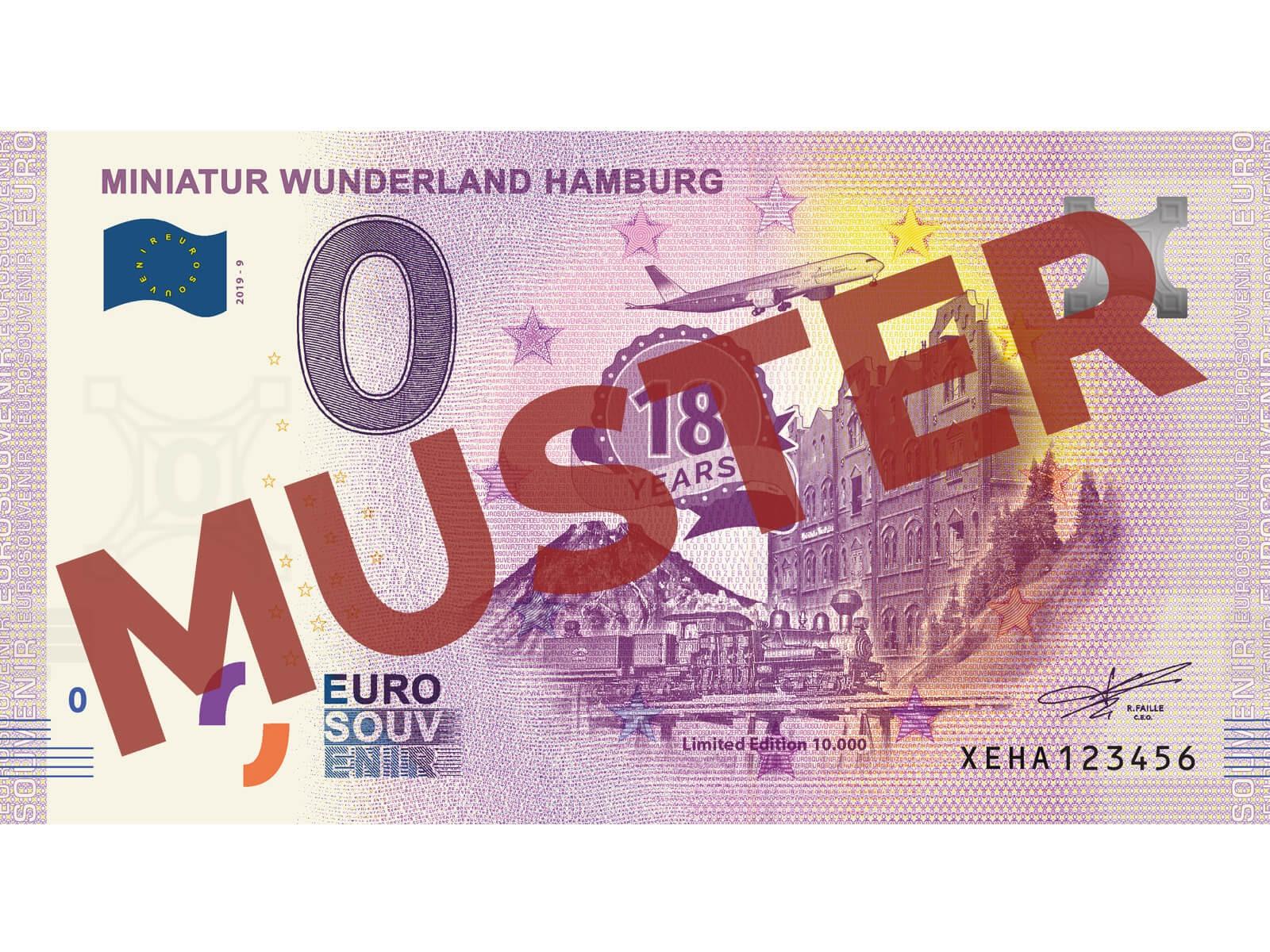 "Euro-Souvenir-Banknote Motif ""18 Years Miniatur Wunderland"" (2019-9)"