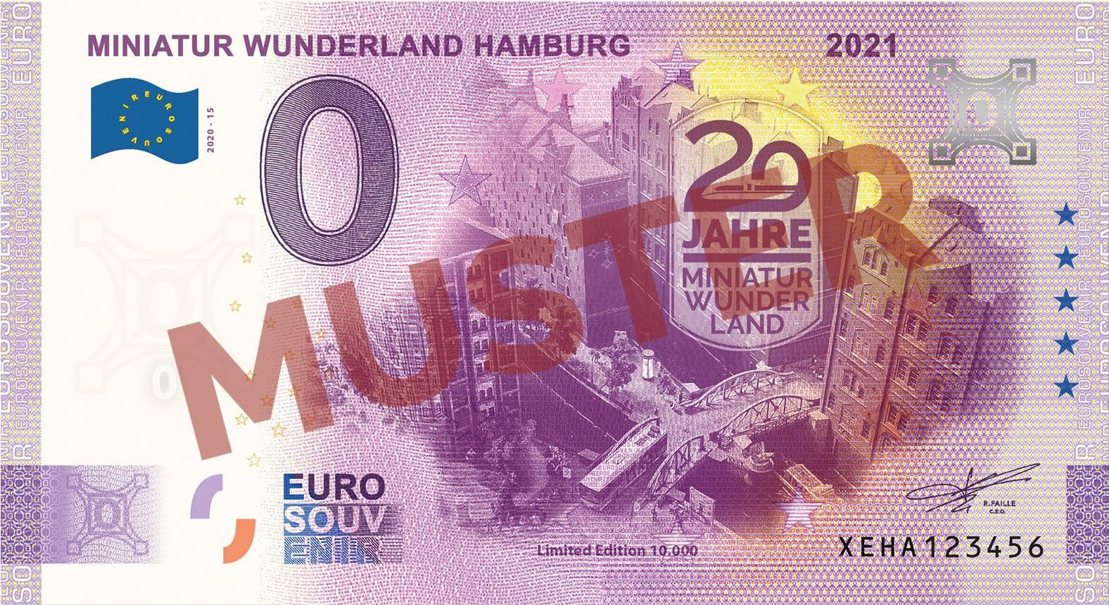 """Euro-Souvenir-Banknote Motif """"Speicherstadt"""" (2021-15.2) Anniversary-Edition"""