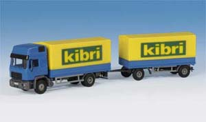 Kibri 14653 H0 MAN HD with tarpaulin and trailer w/ tarpaulin