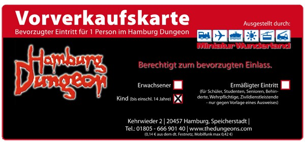 Ticket Hamburg Dungeon children ( 10- 14 years )