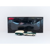 Schuco Piccolo 14140 Ford 17 M with caravan green / beige 1:90