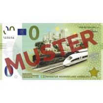"""Miniatur Wunderland Euro-Souvenirschein Motiv grün """"Dampflok BR 01 - ICE 3 BR 403"""""""