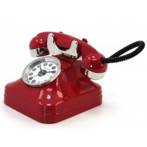 Telephone Miniature Clock (red)