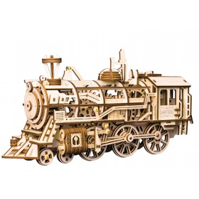 Locomotive - Wooden Model with Spring Motor Construction Set, 349 pcs.